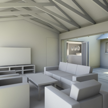 Interior view of new TV room